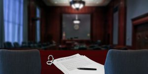 Divorce papers inside the courtroom